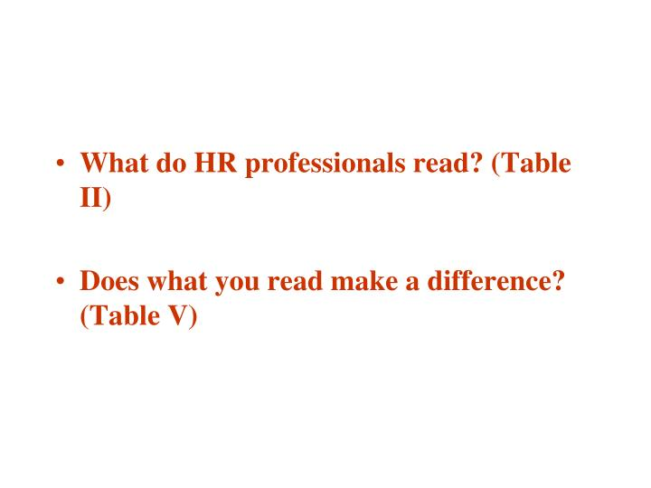 What do HR professionals read? (Table II)