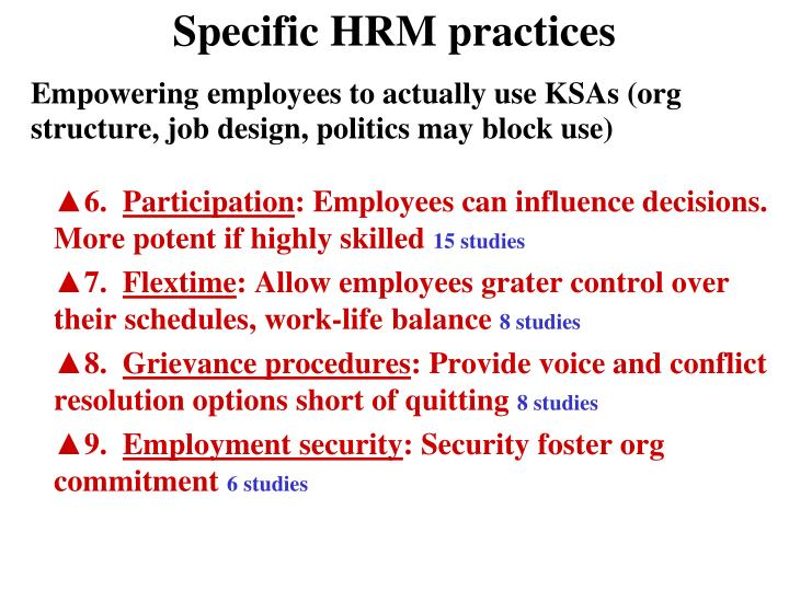 Specific HRM practices