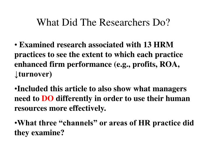What Did The Researchers Do?