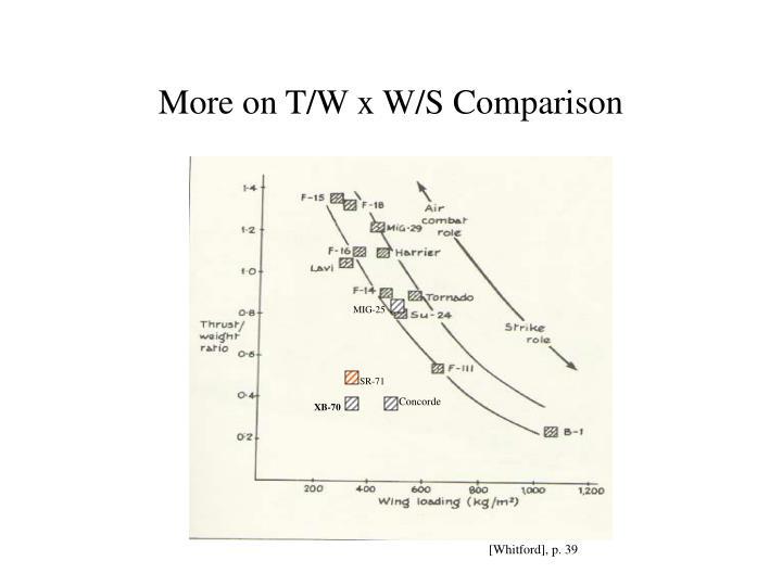 More on T/W x W/S Comparison