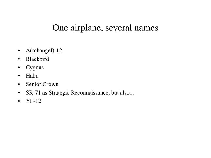 One airplane, several names