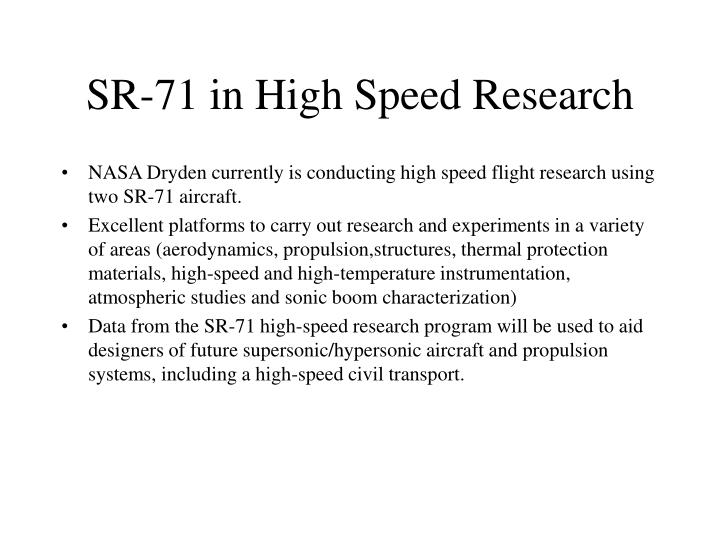 SR-71 in High Speed Research