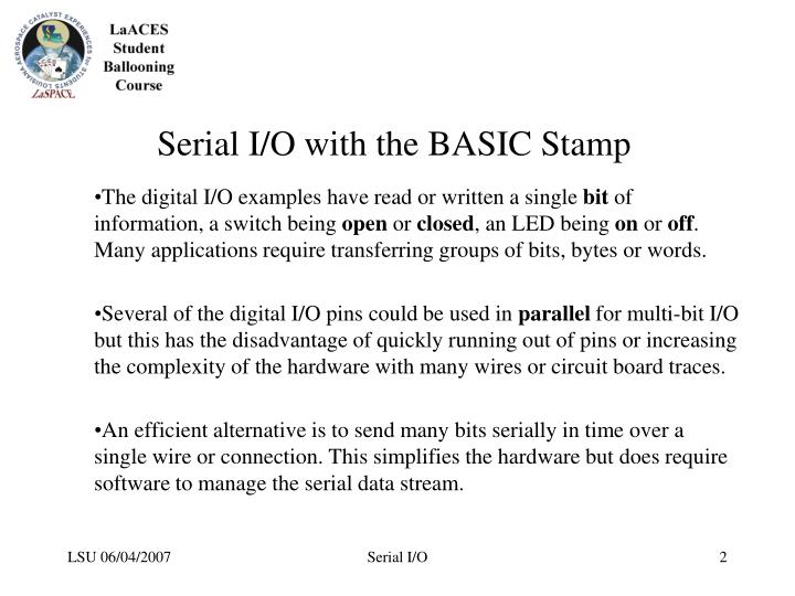 Serial I/O with the BASIC Stamp