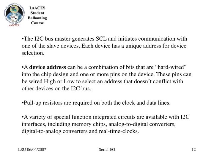 The I2C bus master generates SCL and initiates communication with one of the slave devices. Each device has a unique address for device selection.