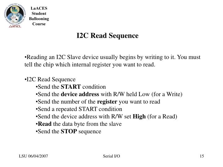 I2C Read Sequence