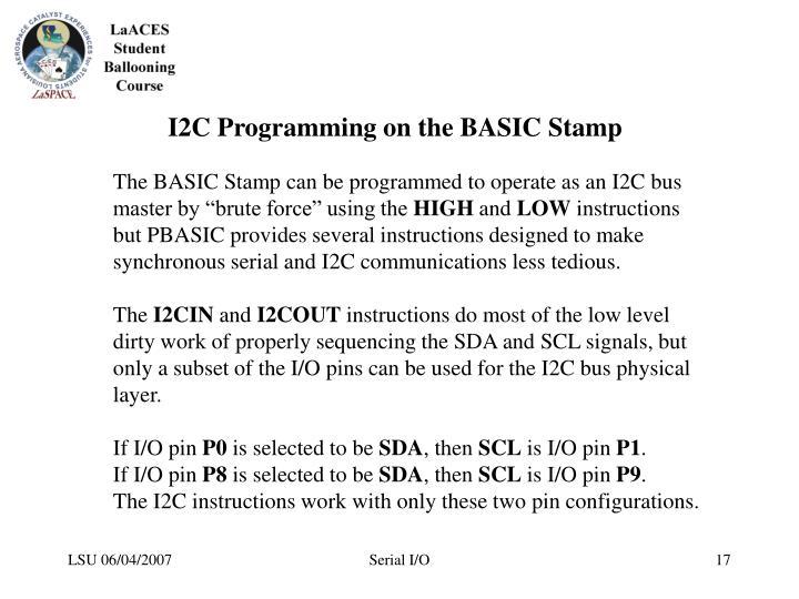 I2C Programming on the BASIC Stamp
