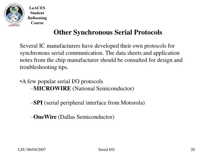 Other Synchronous Serial Protocols