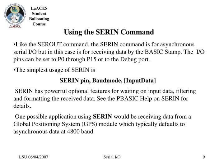 Using the SERIN Command