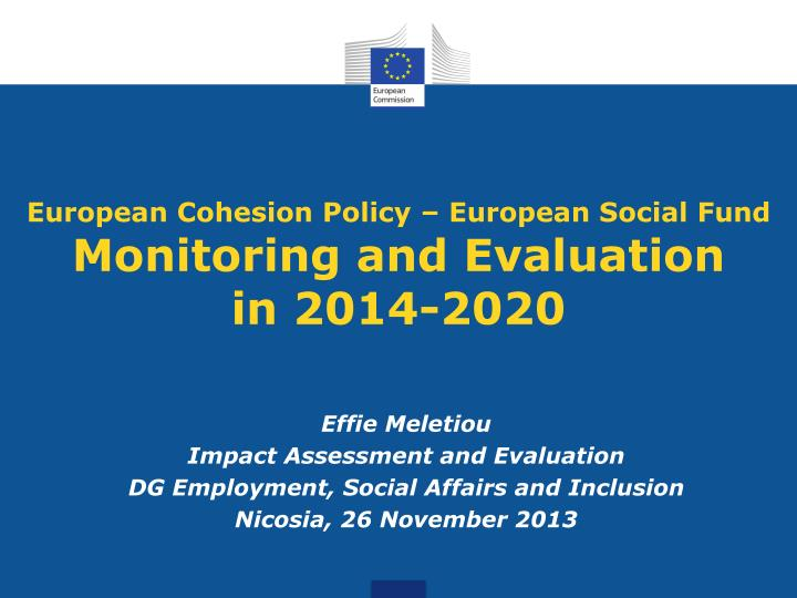 European cohesion policy european social fund monitoring and evaluation in 2014 2020