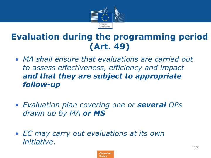 Evaluation during the programming period (Art. 49)