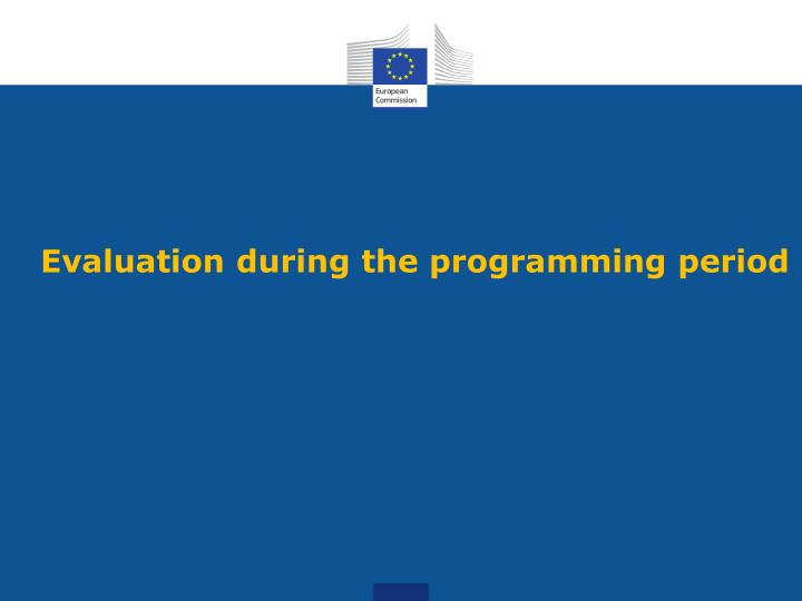 Evaluation during the programming period
