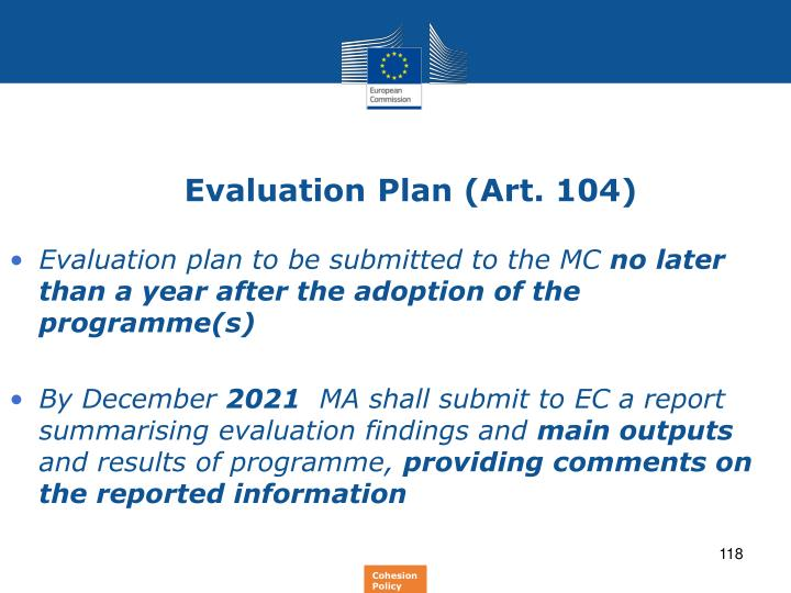 Evaluation Plan (Art. 104)