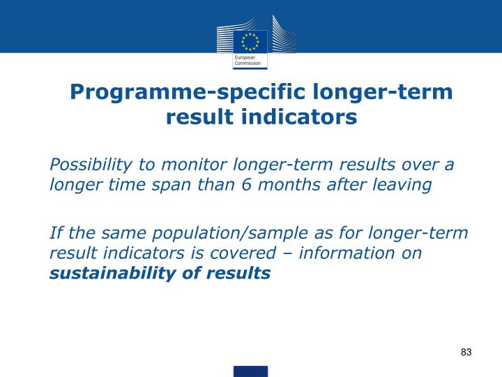 Programme-specific longer-term result indicators