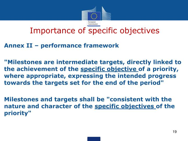 Importance of specific objectives