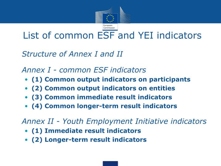 List of common ESF and YEI indicators