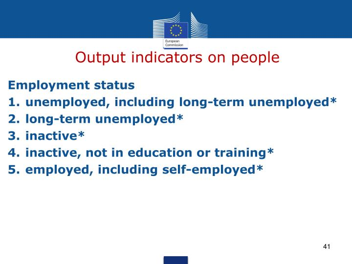 Output indicators on people