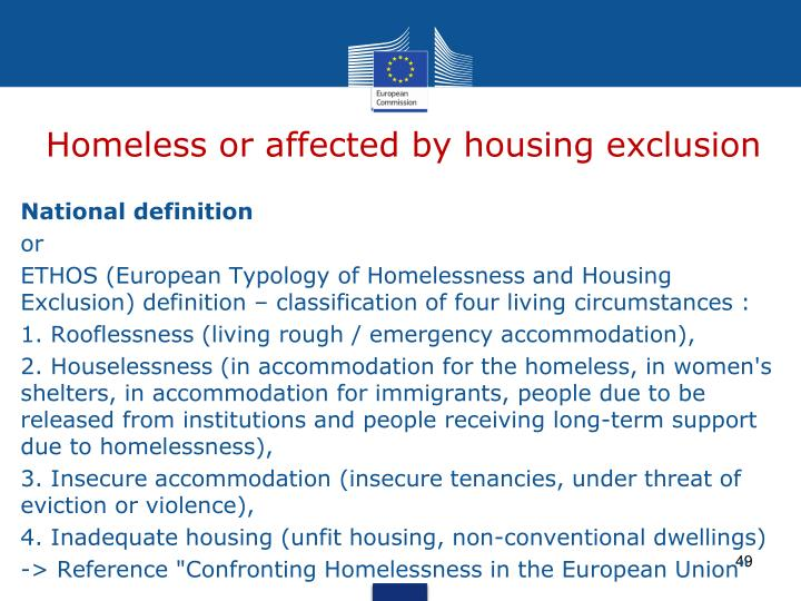 Homeless or affected by housing exclusion