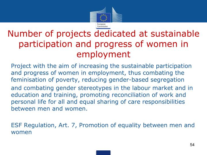Number of projects dedicated at sustainable participation and progress of women in employment