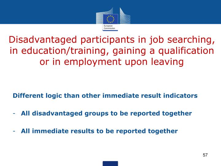 Disadvantaged participants in job searching, in education/training, gaining a qualification or in employment upon leaving
