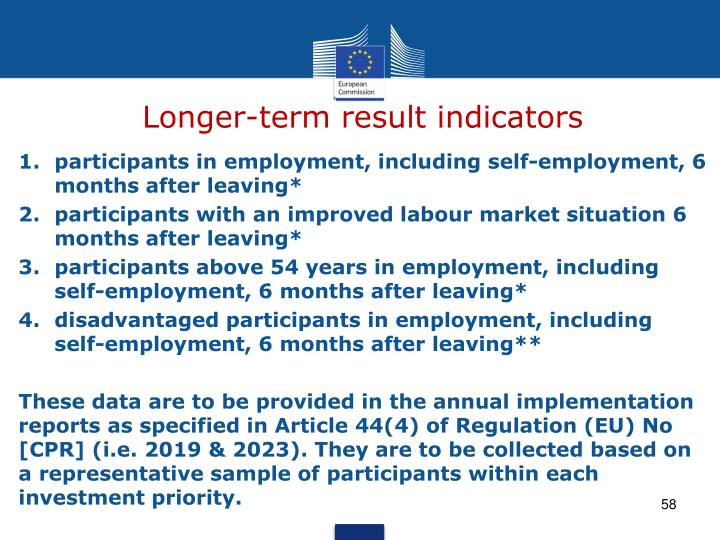 Longer-term result indicators