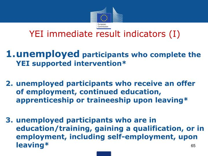 YEI immediate result indicators (I)
