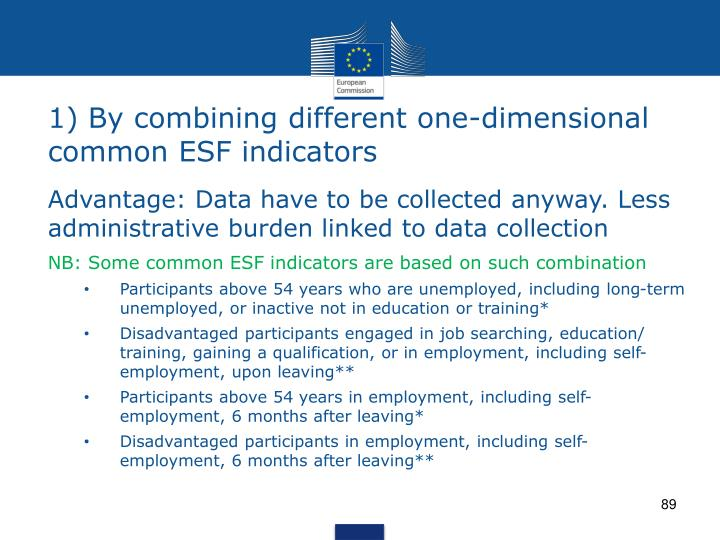 1) By combining different one-dimensional common ESF indicators