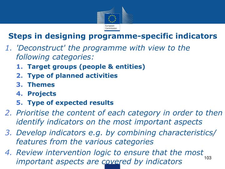 Steps in designing programme-specific indicators
