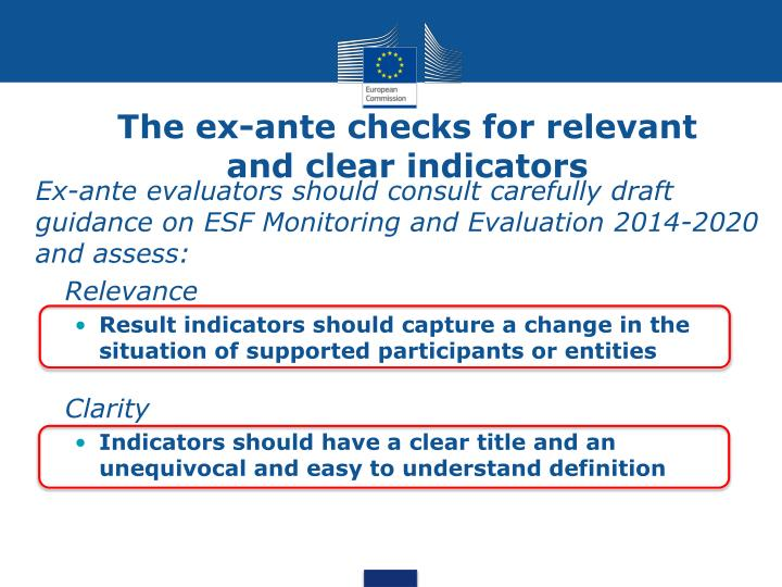 The ex-ante checks for relevant and clear indicators
