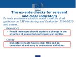 the ex ante checks for relevant and clear indicators