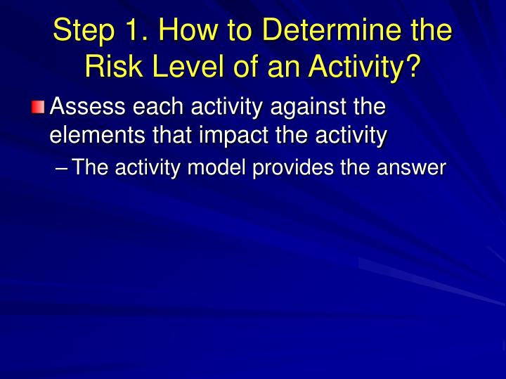 Step 1. How to Determine the Risk Level of an Activity?