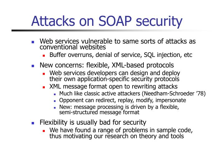 Attacks on SOAP security
