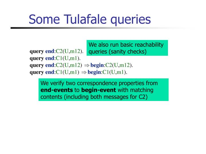 Some Tulafale queries