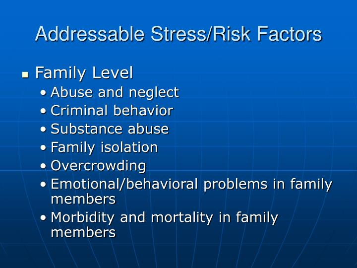 Addressable Stress/Risk Factors