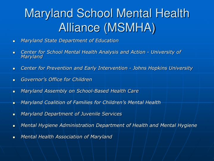 Maryland School Mental Health Alliance (MSMHA)