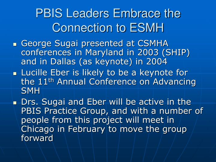 PBIS Leaders Embrace the Connection to ESMH