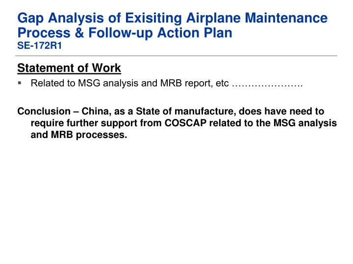Gap Analysis of Exisiting Airplane Maintenance Process & Follow-up Action Plan