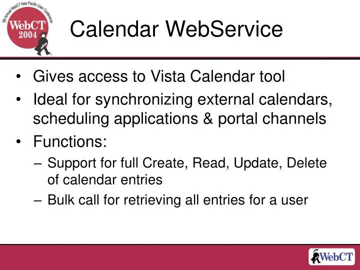 Calendar WebService