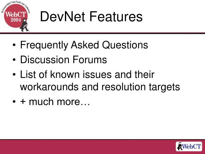 DevNet Features