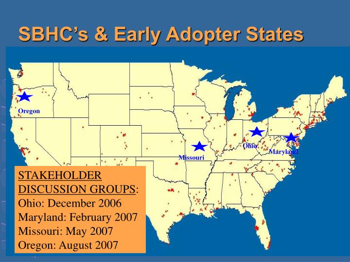 SBHC's & Early Adopter States