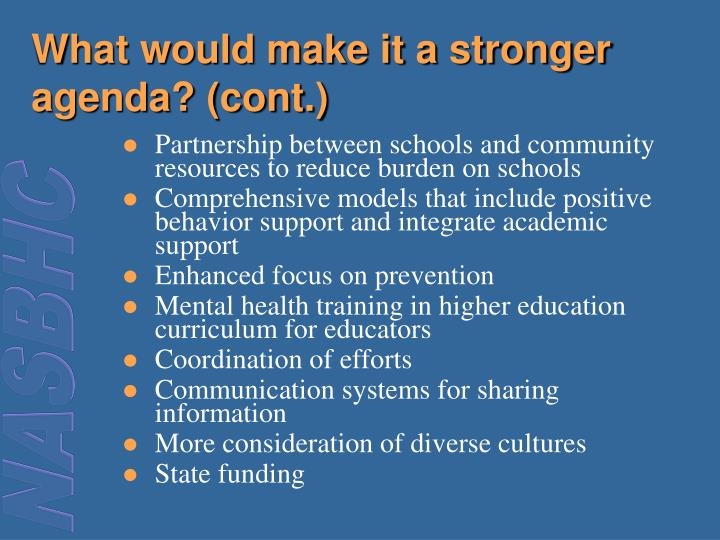 What would make it a stronger agenda? (cont.)