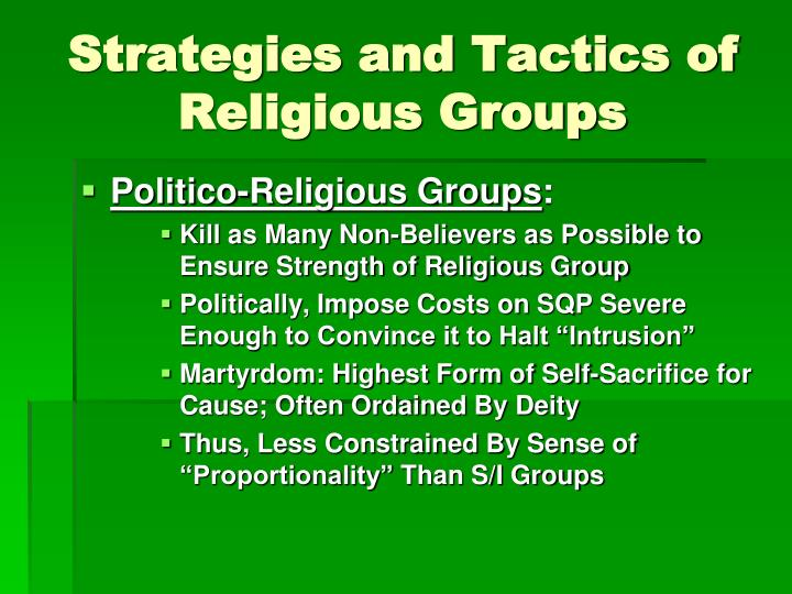 Strategies and Tactics of Religious Groups