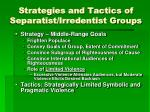 strategies and tactics of separatist irredentist groups