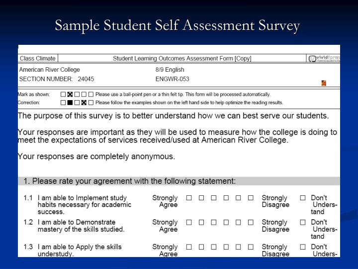 Sample Student Self Assessment Survey
