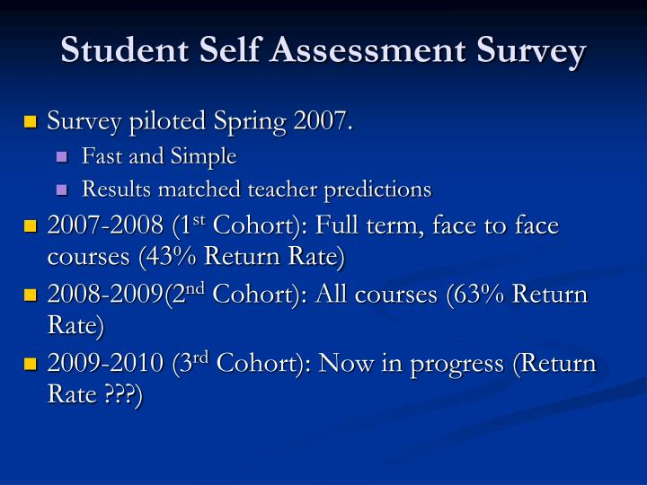 Student Self Assessment Survey