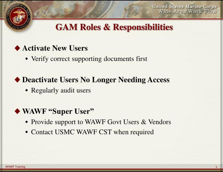GAM Roles & Responsibilities