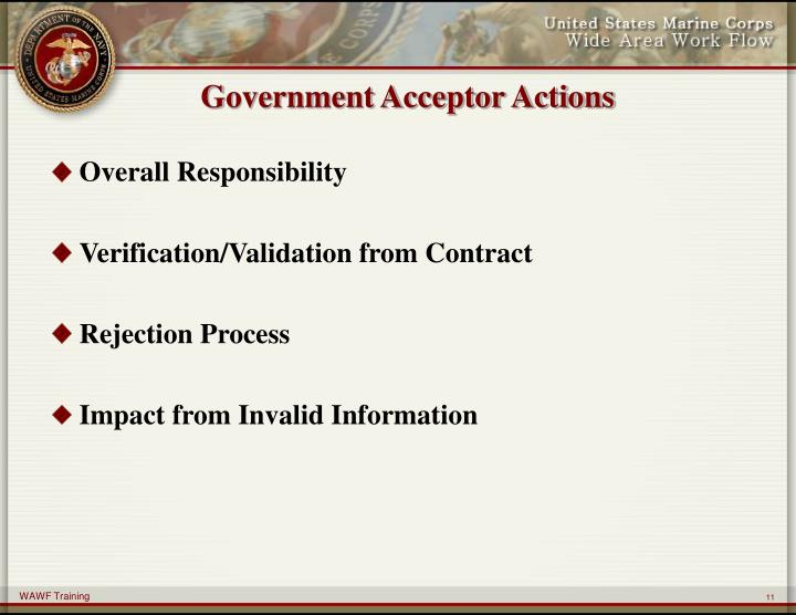 Government Acceptor Actions