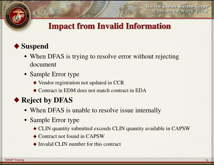 Impact from Invalid Information