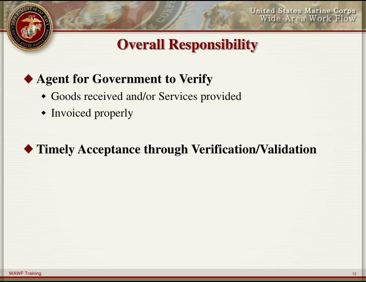 Overall Responsibility