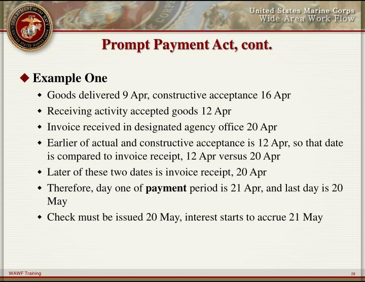 Prompt Payment Act, cont.