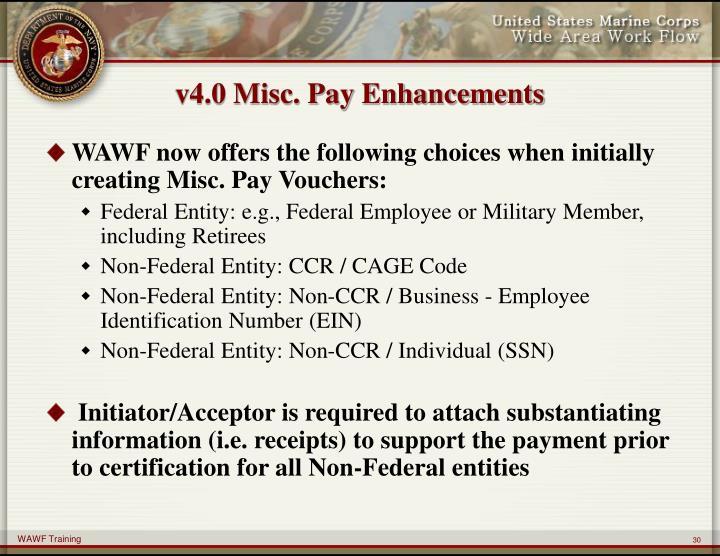 v4.0 Misc. Pay Enhancements